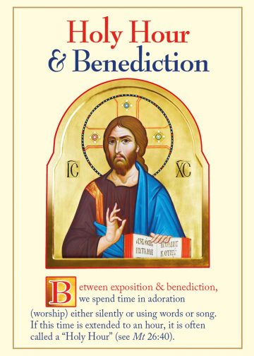 Holy Hour and Benediction fold-out prayer card