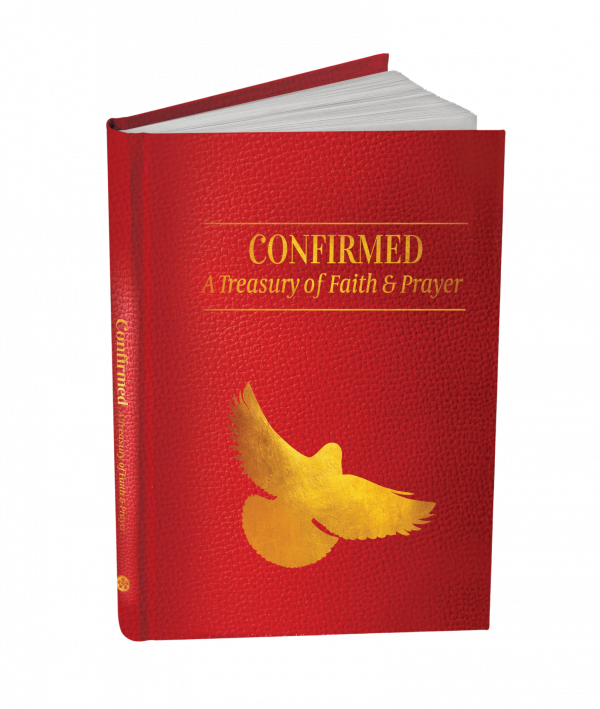 """A gift book in red with the title Confirmed: A Treasury of Faith and Prayer"""" in gold, with a gold image of the Holy Spirit."""