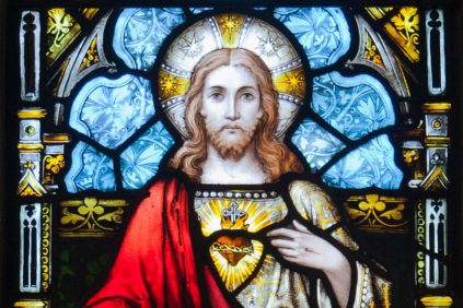 Stained glass image of the Sacred Heart of Jesus.