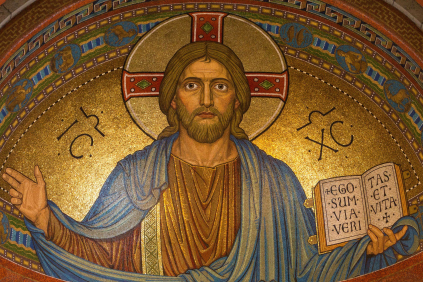 Art of Jesus with His hands outstretched, holding a Bible.